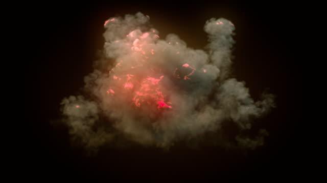 スローモーション非常に現実的な火災爆発多くの煙とアルファマットを構成すると。3d レンダリング。4k、ウルトラ hd 解像度。 - 特殊効果点の映像素材/bロール