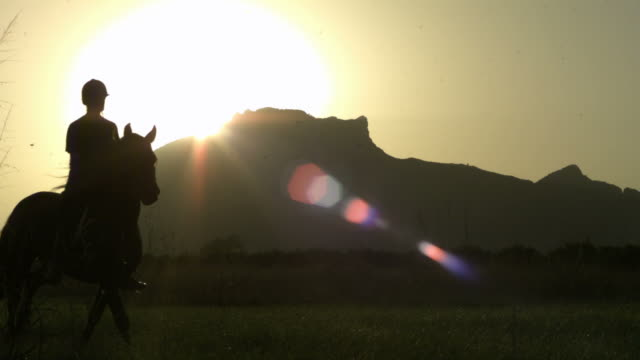 slow motion horse with rider cantering below mountains, sunset, spain (individual frames may also be used as a still image. each frame in its raw state is about 6mb or about 12mb as a 16 bit tiff) - helmet stock videos & royalty-free footage
