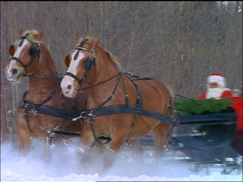 slow motion pan horses pulling sleigh with santa claus with gifts + women through snow - weihnachtsmann schlitten stock-videos und b-roll-filmmaterial