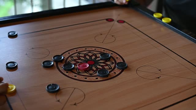 slow motion human finger playing carrom - human finger stock videos & royalty-free footage