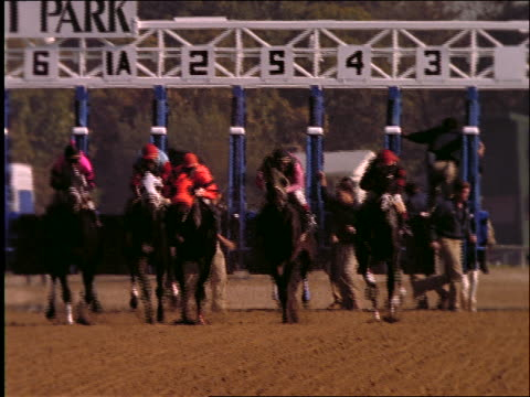 slow motion jockeys on horses leave starting gate toward camera / racing - starting gate stock videos and b-roll footage