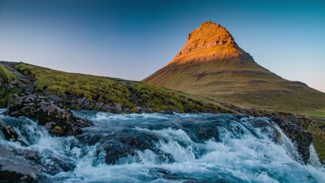 slow motion kirkjufell mountain - iceland - rapid stock videos & royalty-free footage