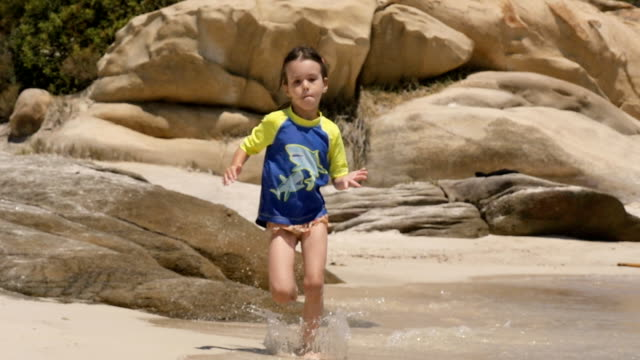 Slow Motion, Little Girl Running At The Beach