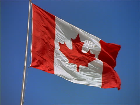 slow motion low angle close up Canadian flag blowing in strong wind / blue sky background