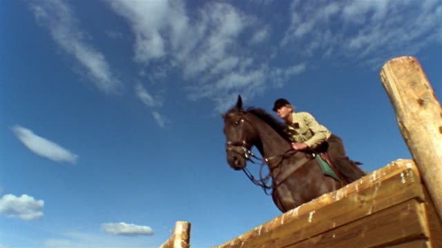 stockvideo's en b-roll-footage met slow motion low angle medium shot female equestrian jumping horse over fence / wispy clouds in blue sky / colorado - alleen één mid volwassen vrouw