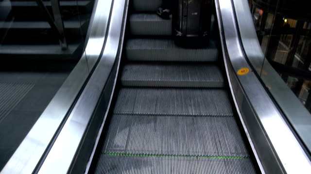 HD Slow Motion: man with suitcase moving up
