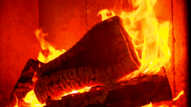 Slow motion: Massive Fire in Fireplace