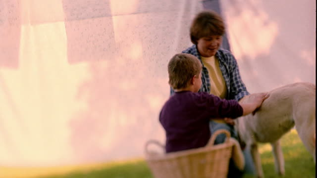 slow motion medium shot boy sitting in laundry basket talking with woman and petting dog in yard / shell rock, iowa - laundry basket stock videos and b-roll footage