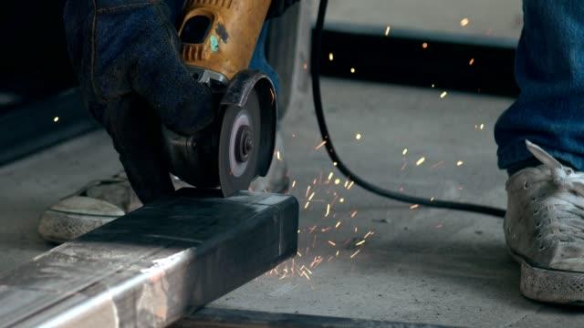 slow motion : metal cutting - polishing stock videos & royalty-free footage