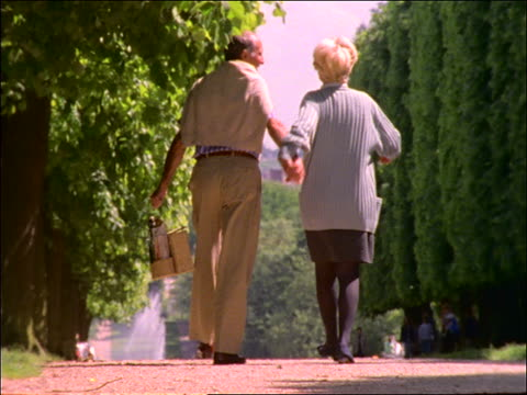 slow motion middle-aged couple with picnic basket walking in park / paris - picknick stock videos and b-roll footage