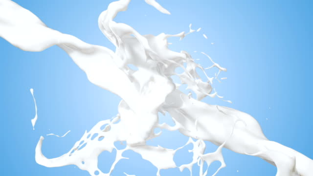 stockvideo's en b-roll-footage met slow motion milk splash background - melk