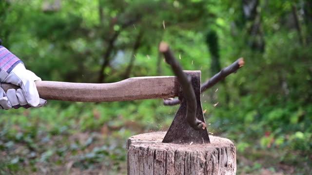 vidéos et rushes de slow motion movement of someone cutting a stick with an ax. - bois