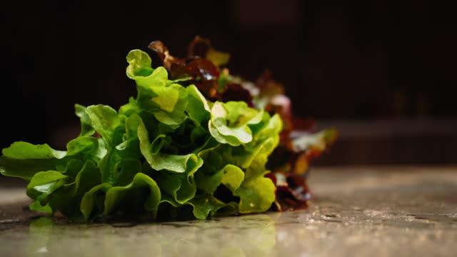 落下した洗浄されたレタスのスローモーション - 葉野菜点の映像素材/bロール