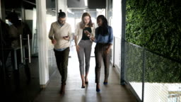 Slow motion of a group of people walking in office