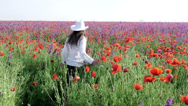 Slow-Motion ein junger Bauer Frau mit einem Hut, in weiß gekleidet, ein Spaziergang durch bunte Mohnblumen Feld voller blühender Blumen.