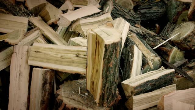 Slow motion of breaking firewood