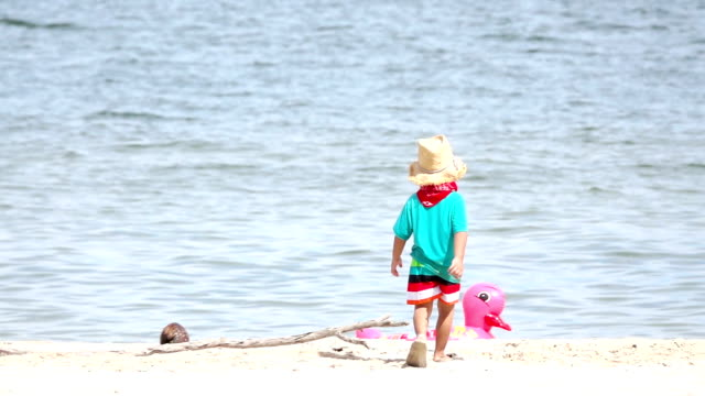 slow motion of child walking on the beach. - footprint stock videos & royalty-free footage