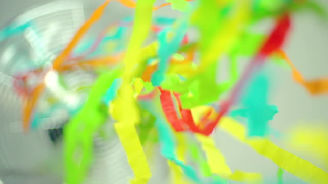 slow motion of colorful streamers - award ribbon stock videos & royalty-free footage