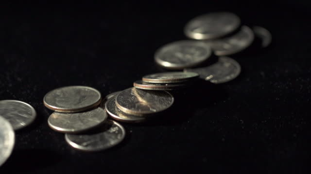 Slow Motion of Counting US Dollar Money Coins