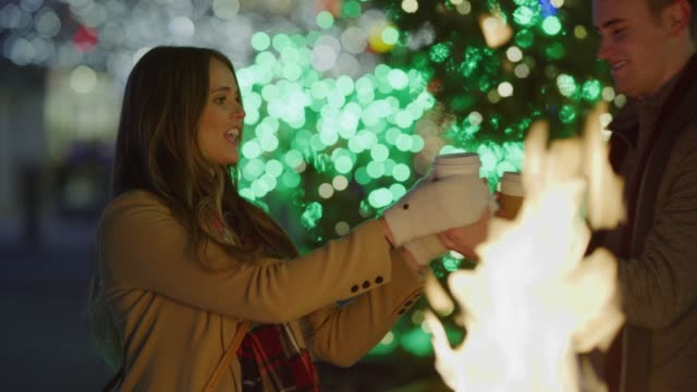 stockvideo's en b-roll-footage met slow motion of couple toasting and drinking warm beverage near fire outdoors at christmas / provo, utah, united states - provo