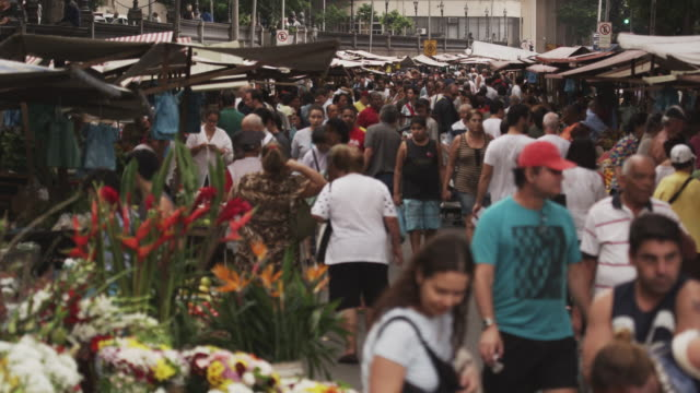 rio de janeiro, brazil - june 23: slow motion of crowd at market on june 23, 2013 in rio, brazil - 2013 stock videos & royalty-free footage
