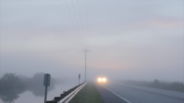 Slow Motion of Driving in Dense Foggy Morning
