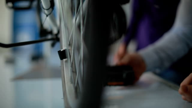 slow motion of electric bike - tyre stock videos & royalty-free footage