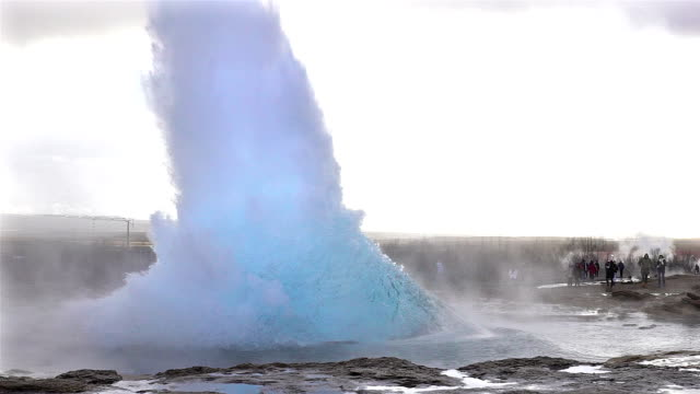 slow motion of eruption of strokkur geyser iceland - volcano stock videos & royalty-free footage