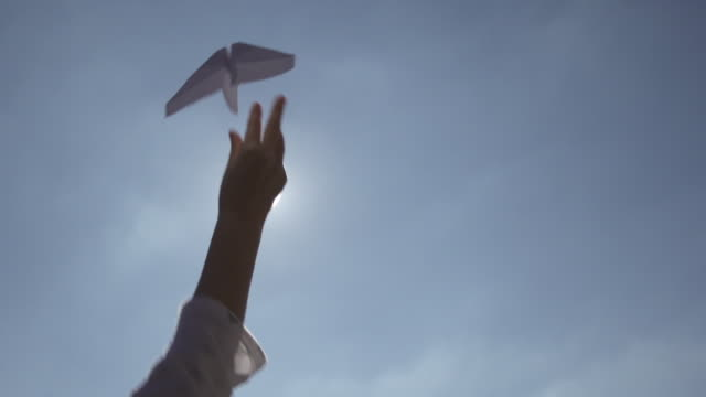 vídeos de stock, filmes e b-roll de slow motion of flying paper plane - gaivota