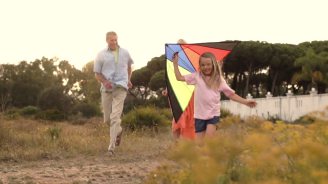Slow motion of grandparents and granddaughter playing with kite in countryside.