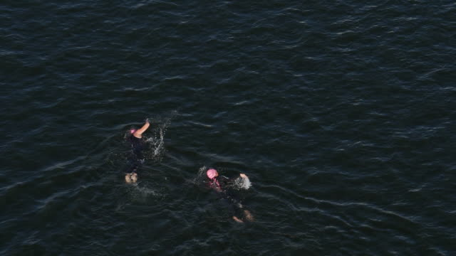 vídeos y material grabado en eventos de stock de slow motion of ironman 70.3  women swimming race in chattanooga, tn - gorro de baño