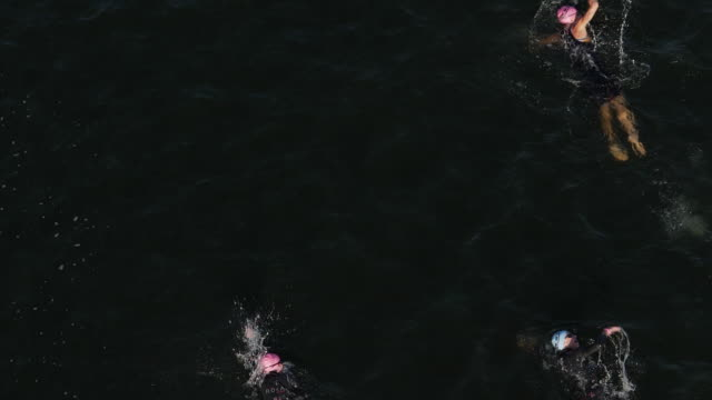 slow motion of ironman 70.3  women swimming race in chattanooga, tn - swimming cap stock videos and b-roll footage