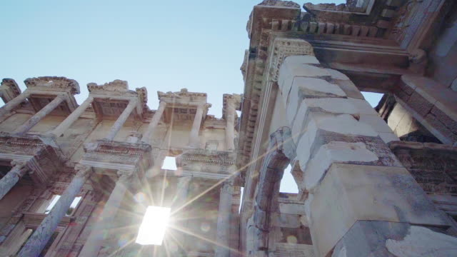 slow motion of library of celsus in ephesus ancient city - izmir stock videos & royalty-free footage