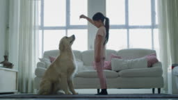 Slow motion of little girl playing and cuddling her dog in living room.