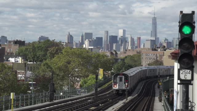 Slow Motion of New York Subway Train Traveling out of Manhattan