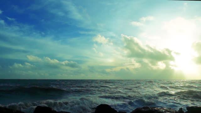 slow motion of ocean wave crushing on rocks - damaged stock videos & royalty-free footage