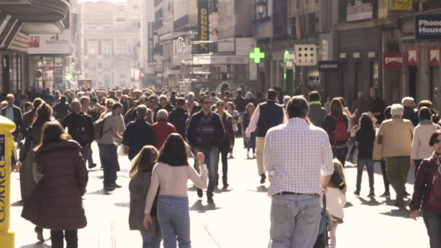 Slow motion of people in comercial street