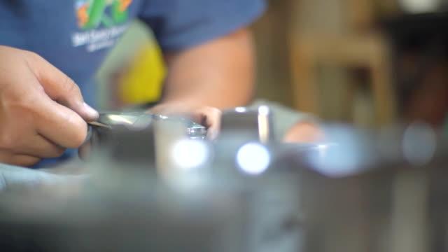 slow motion of polishing metal mold - polishing stock videos & royalty-free footage