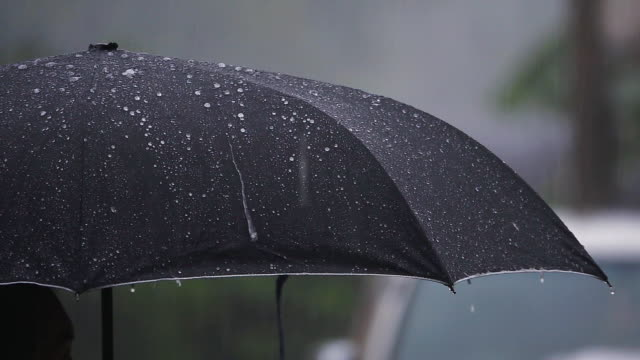 slow motion of rain and umbrella - shower stock videos & royalty-free footage