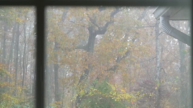 slow motion of rain shower and home in autumn - herbst stock-videos und b-roll-filmmaterial