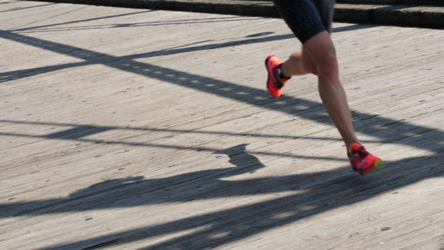 Slow motion of running and shadow