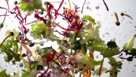 vidéos et rushes de slow motion de la salade éclaboussant s'envoler - prêt
