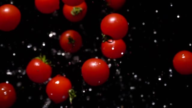 vídeos de stock e filmes b-roll de slow motion of splashing tomato flying up to camera - maduro