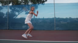 Slow motion of talented tennis player forehand stroke