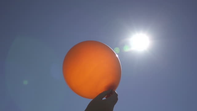 Slow Motion of Tossing Ballon into the Sky