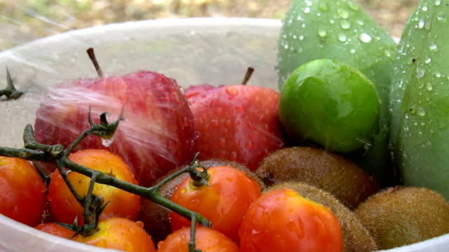slow motion of water splash on mixed fruits - tomato juice stock videos and b-roll footage