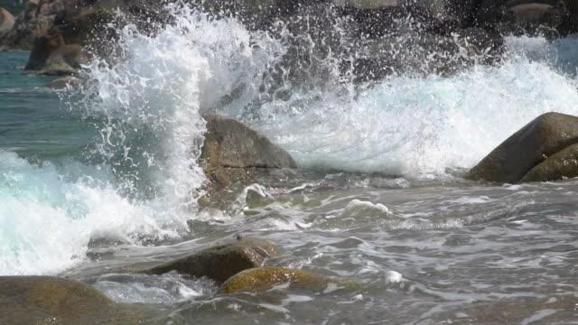 slow motion of wave splashing on the beach - carrellata video stock e b–roll