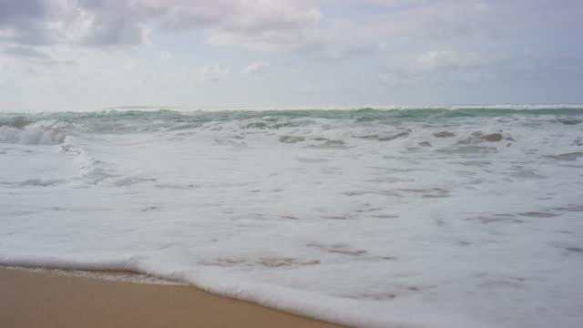 Slow motion of waves crashing onto the beach