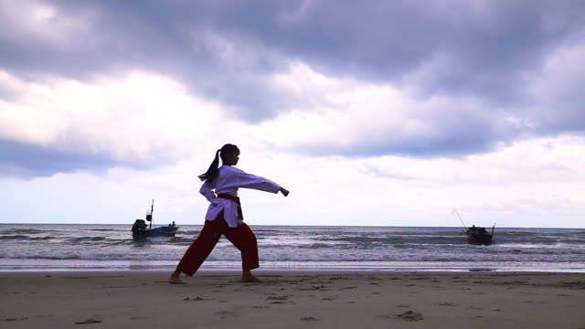 vídeos de stock, filmes e b-roll de câmera lenta de mulheres jovens practising artes marciais ao ar livre na praia. - posição de combate