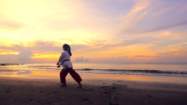 vídeos de stock, filmes e b-roll de câmera lenta de mulheres jovens practising artes marciais ao ar livre na praia em vez de pôr do sol - posição de combate